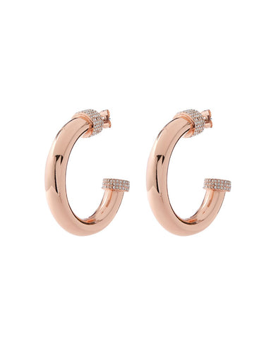 Pave Tip Tube Hoops- Rose Gold