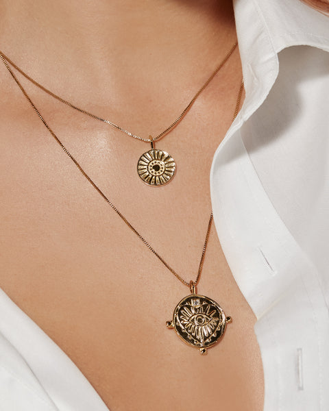 Evil Eye Double Coin Necklace- Gold (Ships Mid December)