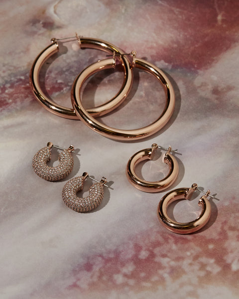 Pave Mini Donut Hoops- Rose Gold (Ships Early December)