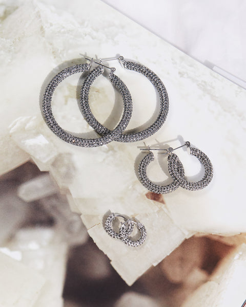 Pave Baby Amalfi Hoops- Silver- Black Diamond