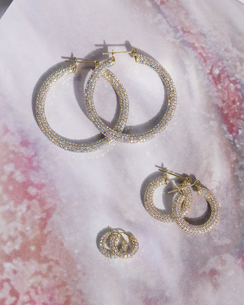 Pave Amalfi Hoops- Gold- Rainbow Crystal
