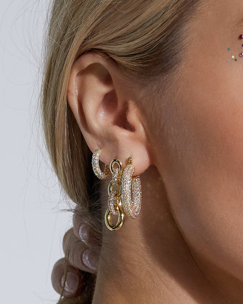 Pave Loop Studs- Gold