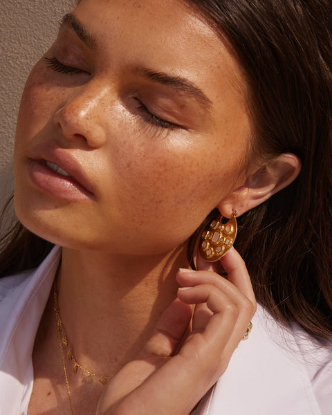 Mother of Pearl Mosaic Hoops- Gold