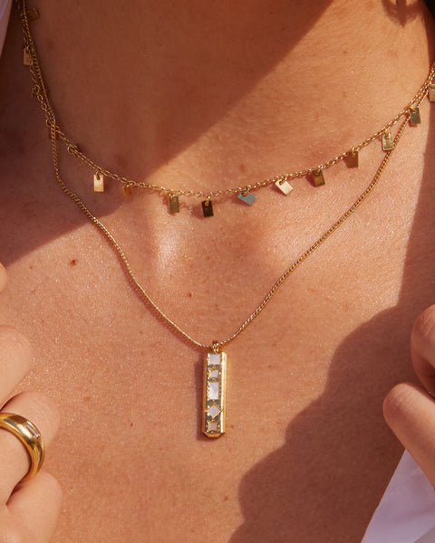 Pearl Mosaic Pendant Necklace- Gold