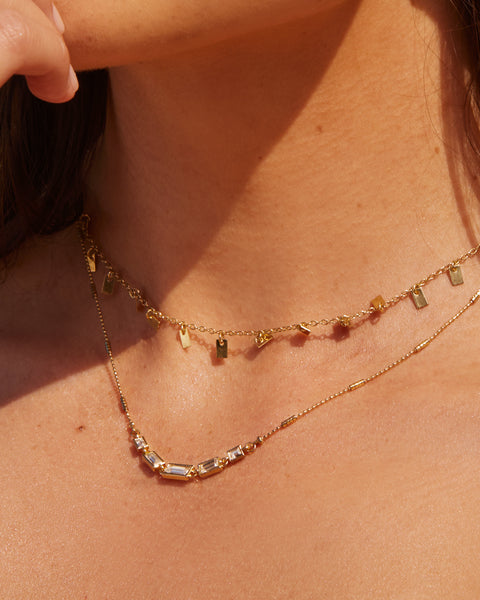 Ascending Baguette Charm Necklace- Gold