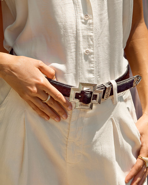 Cross Buckle Belt- Silver
