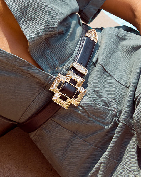 Cross Buckle Belt- Gold