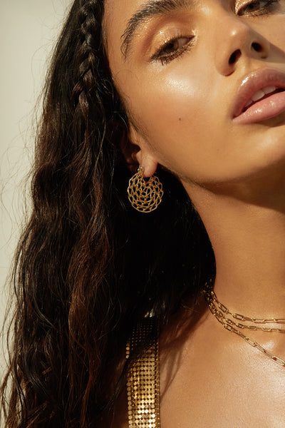 Mini Twisted Chain Hoops- Gold