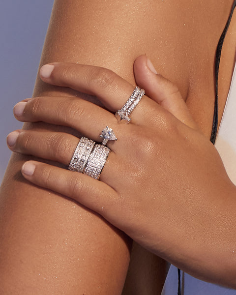 Pave Twisted Ring- Silver