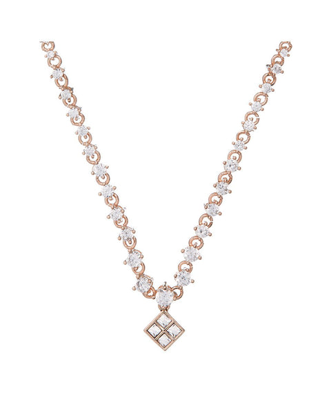 Graduated Diamond Charm Necklace- Rose Gold