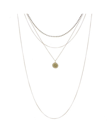 Layered Pave Coin Necklace- Gold