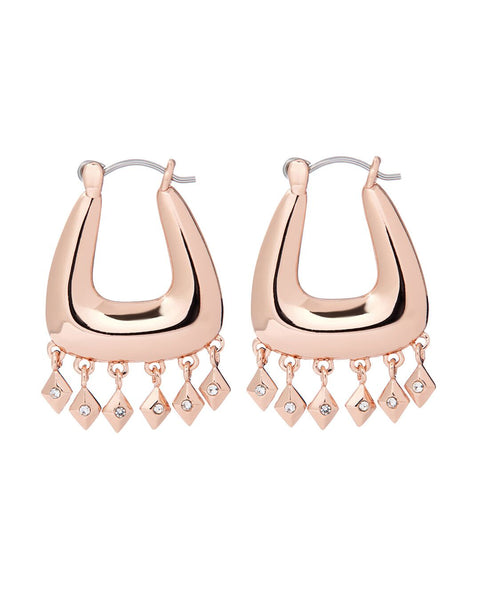 Diamond Kite Fringe Hoops- Rose Gold