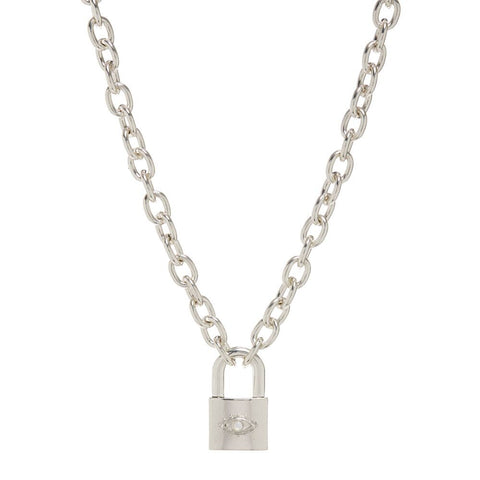 Evil Eye Padlock Necklace- Silver