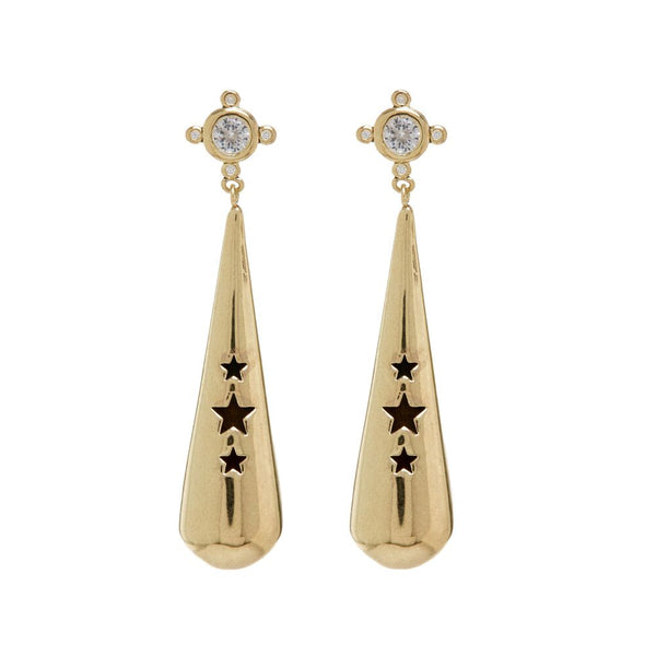 Pave Pendulum Earrings- Gold
