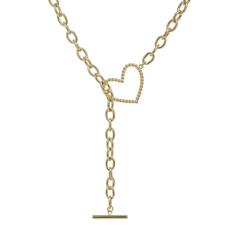 Heart + Chain Lariat- Gold