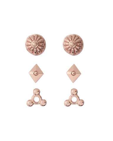 Marrakech Studs Set- Rose Gold