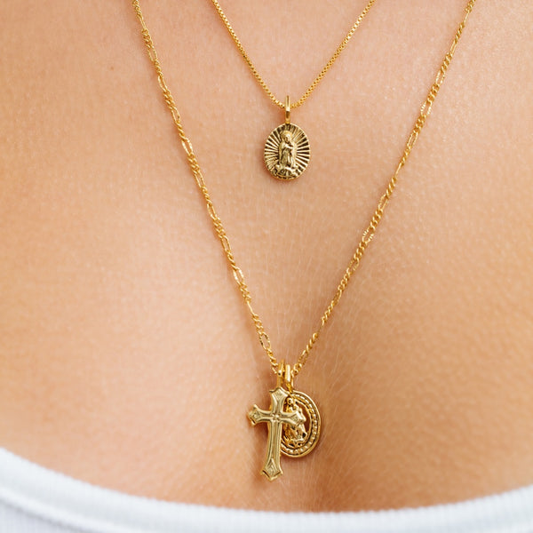71984f11b3f63 Isidore Cross Charm Necklace- Gold | Luv Aj