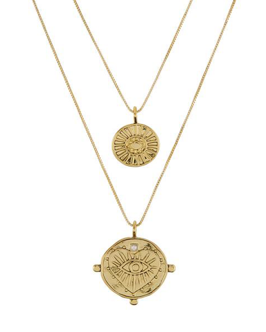 Evil Eye Double Coin Necklace- Gold