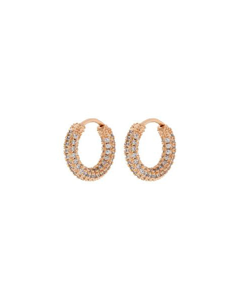 Pave Amalfi Huggies- Rose Gold