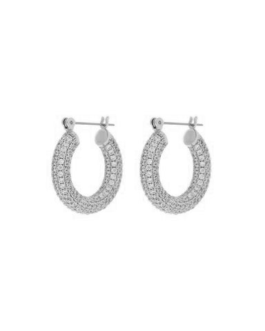 Pave Baby Amalfi Hoops- Silver