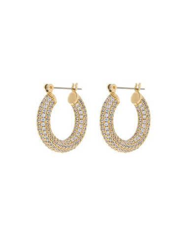 Pave Baby Amalfi Hoops- Gold (Ships Mid May)