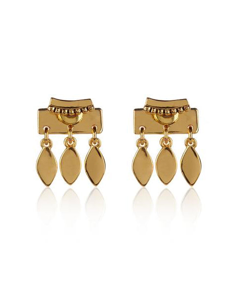 Marquise Dangle Studs- Gold (Ships Mid December)