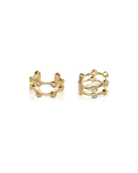 Pave Hex Ear Cuff - Gold (Ships Late April)