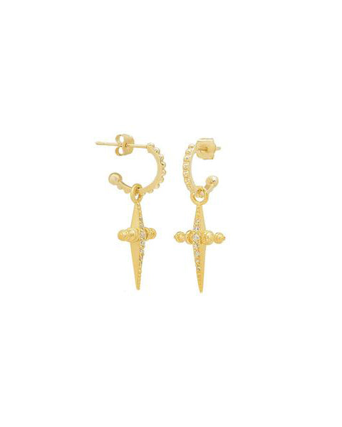 Pave Mini Cross Hoops- Gold