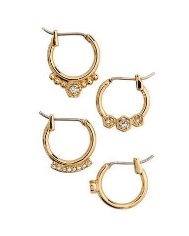 Full Bloom Hoop Earring Set- Gold
