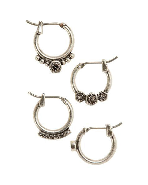 Full Bloom Hoop Earring Set- Silver