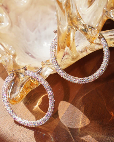 Pave Amalfi Hoops- Rose Gold- Rainbow Crystal