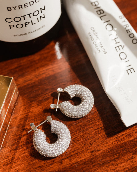 Pave Mini Donut Hoops- Silver (Ships Late May)