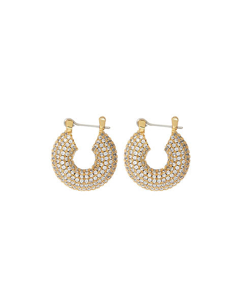 Pave Mini Donut Hoops- Gold