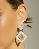 Pave Princess Earrings- Silver