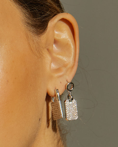 Pave Padlock Earrings- Gold