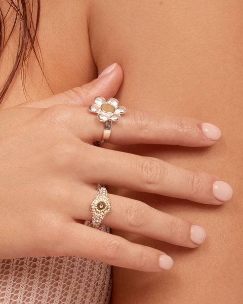 Flora Statement Ring- Silver