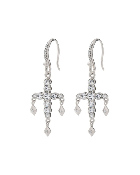 Diamonte Hook Earrings- Silver