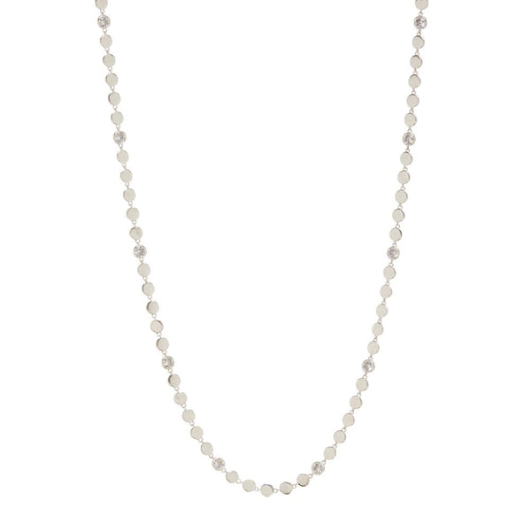 Diamond Disc Wrap Necklace- Silver