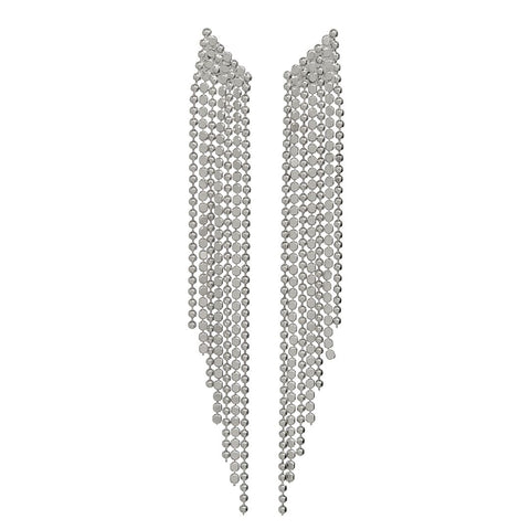 Cascading Chain Earrings-Silver