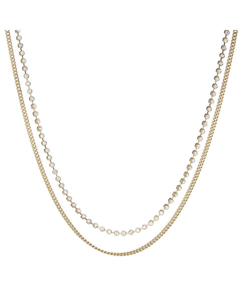 Diamonte Chain Charm Necklace- Gold