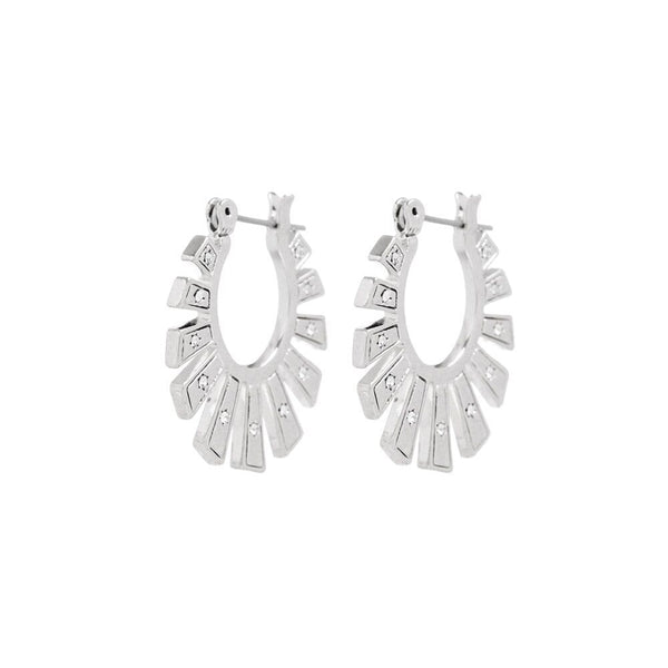 Whimsy Flare Mini Hoops- Silver