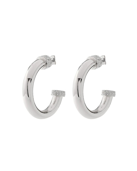 Pave Tip Tube Hoops- Silver