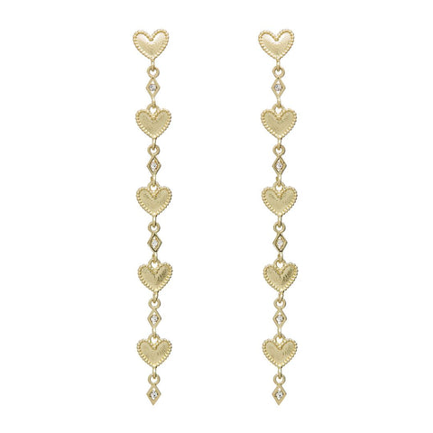 Dotted Heart Drop Studs- Gold
