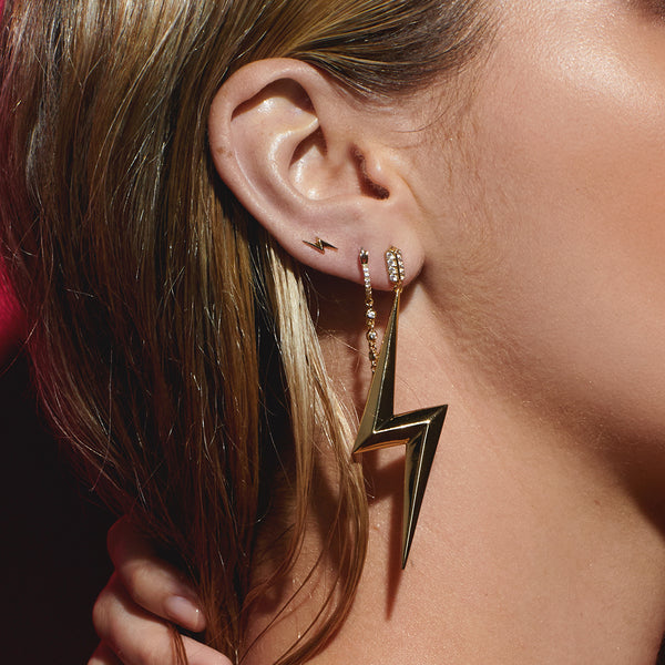 The Bolt Statement Earrings- Gold