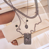 The Fleur Dog Tag Necklace- Silver