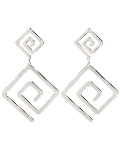 Athens Statement Earrings- Silver