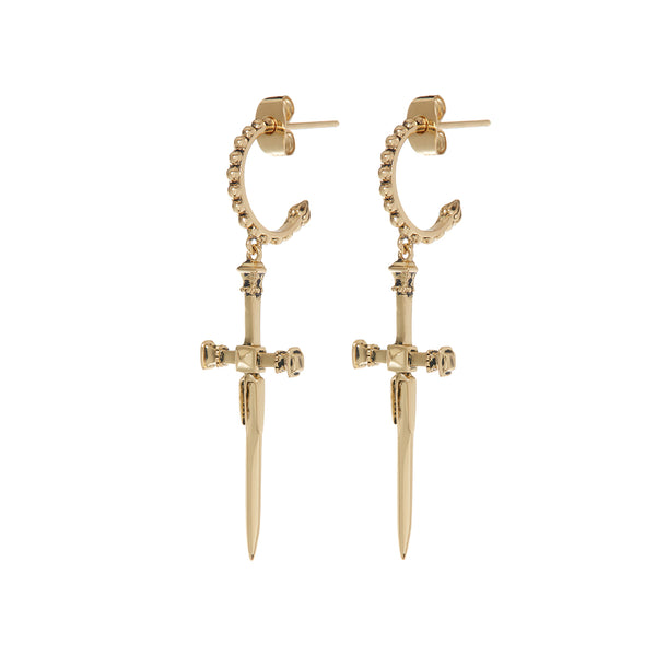 The Beaded Dagger Hoops- Gold