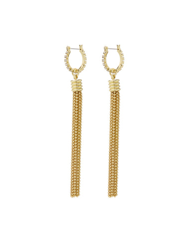 Beaded Tassel Hoops- Gold