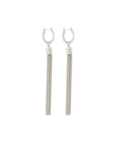 Beaded Tassel Hoops- Silver
