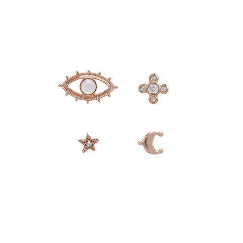 Celestial Pave Studs Set- Rose Gold